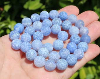 4 BEADS VEINS DRAGON AGATE 10 MM BLUE FIRE.