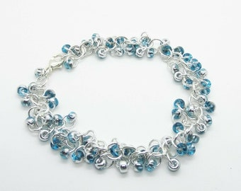 Sterling Silver Aqua Seed Bead Chain Shaggy Loops Bracelet - Prima Donna Beads