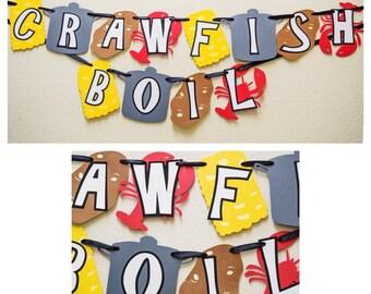 Crawfish Boil Banner ; Crawfish Decor ; Party Banner ; Crawfish Boil Decoration