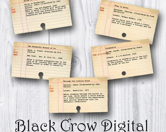 Grungy Library Card Catalog Cards; Childrens Books, Alice in Wonderland, Wizard of Oz; Printable Collage Sheet; Instant Download; DIY