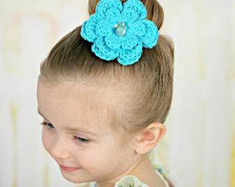 Turquoise Blue Hair Clip Turquoise Hair Clip Crochet Flower Hair Clip Turquoise Barrette Blue Barrette Flower Barrette Spring Hair Clip