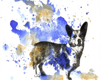 Custom Pet Portrait Painting Custom Dog Portrait Painting Dog Painting Print Custom Watercolor Painting Great Gift Idea Unique Gift Corgi