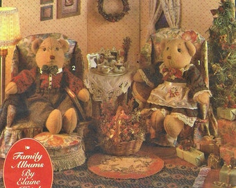 90s Elaine Heigl Holiday Teddy Bear, Clothes, Furniture and Decorating Tips Simplicity Crafts Pattern 8154 UnCut Christmas Teddy Bears