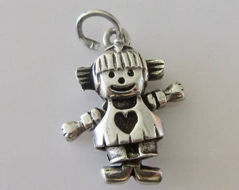Silver Little Girl Charm or Pendant Moves