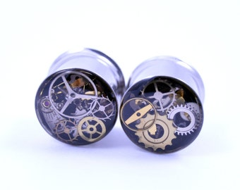"""9/16"""" 1 PAIR 316L Double Flare 14mm Steampunk Tunnels Gauges Plugs filled with watch parts LIMITED EDITION"""