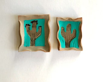 Turquoise Saguaro Cacti ring dish catch all jungalow decor boho tray