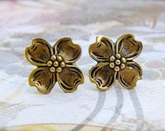 Dogwood - antique brass post earrings