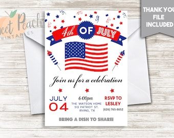 4th of July Party Invitation Invite 5x7 Digital Block Party Invite Independence Day Party 3.0