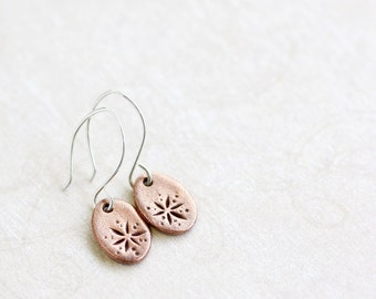 copper oval earrings with floral design, floria