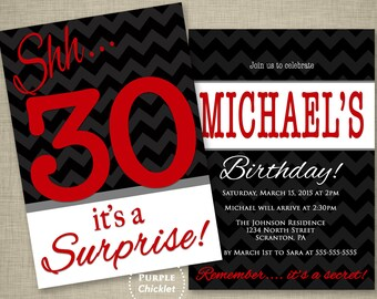 Red 30th Surprise Birthday Party Invitation Gray Black Chevron Masculine invite Mans Party Invitation Adult Printable Party Invite JPEG 251