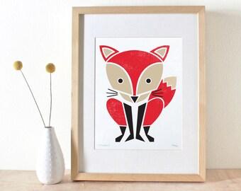 Fox Print, Screenprint, Red, Nursery Art, Woodland Art