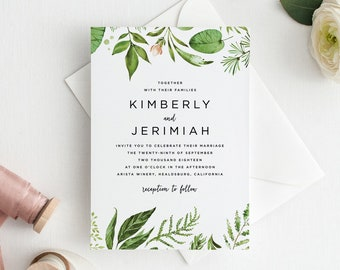 Botanical Wedding Invitation Suite, Printable Greenery Wedding Invitation, Floral Wedding Invite