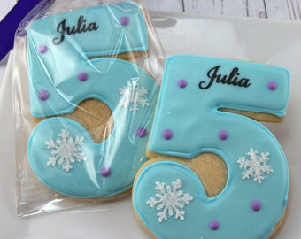 Frozen Birthday Cookies, Personalized, Number Cookies  - 12 Decorated Sugar Cookie Favors