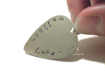 Personalized Metal Guitar Pick Shaped Pendant  - Hand Stamped Silver Tone