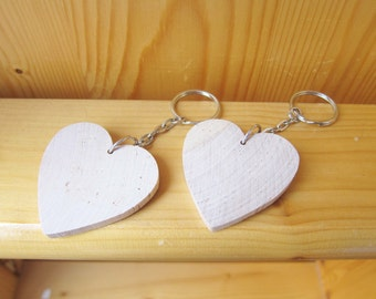 1 DIY Wood Heart Key Chain / Key Ring, Kids Party Gifts, Kids Craft supplies, wholesale wood craft, custom order, ShineKidsCrafts