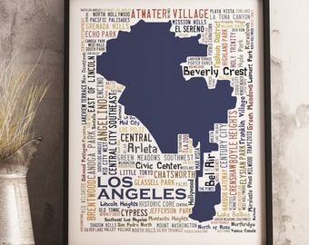 Los Angeles Typography Map Art Print, Los Angeles Poster, Los Angeles neighborhood map print, Los Angeles Art, Choose your color and size