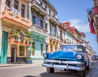 Classic car print, Cuba photography, Havana photo, Vintage car, Travel decor, Colorful wall art, Travel photo Printable art Instant download