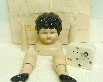 Vintage Doll Parts Kit  Head, Legs and Arms Ceramic with Music Box Included