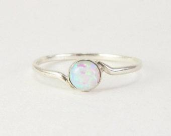 white opal ring, opal ring, Sterling silver opal ring, Silver white opal ring, silver opal jewelry, opal ring silver, Tiny opal ring