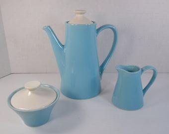 Mid Century Coffee Service Set Tea Service Set Blue Turquoise Aqua White Ceramic Stoneware Pottery USA Coffee Pot Tea Pot Sugar Creamer