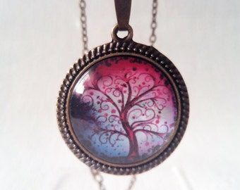 Vintage necklace Tree of Life cabochon Necklace for women Pink purple pendant Glass cabochon bronze necklace Vintage Jewelry Girlfriend gift