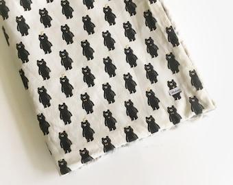 Boys Crib Blanket Bear Baby Blanket - Fur Blanket Black White Blanket /Baby Stroller Blanket /Modern Nursery Bedding /Ready to Ship