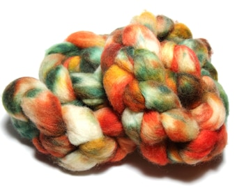 Hand dyed superwash British bluefaced Leicester BFL wool combed top roving spinning fibre fiber 130g 'Forest Fire'