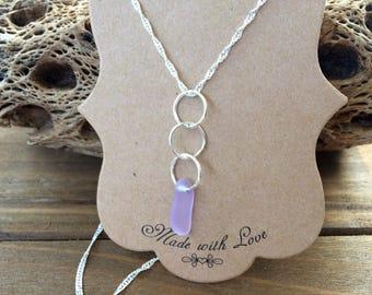 Lavender Sea Glass Necklace, Sea Glass Jewelry, Dainty Necklace, Sea Glass Necklace, Bridal Necklace, Bridesmaid Gift, Beach Wedding Jewelry