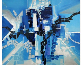 """Abstract Oil-painting, Original Art by BO The Artmakers : """"BLUE ENIGMA"""", Gallery of modern & contemporary  Art"""
