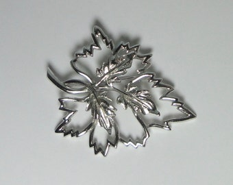 EMMONS Silver tone Maple Leaf Brooch, Pin.