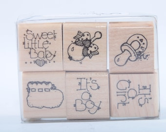 Stamp Set, Six Rubber Stamps, Sweet little baby, Vintage, Card Making, Crafts, Personalized, New Baby Cards ~ 170323