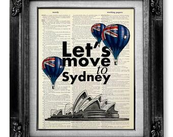 Landscape Print, OFFICE Art, TYPOGRAPHY Poster Quote Poster, Australia Art, City Skyline Print, AUSTRALIA Print, Sydney Art - Move to Sydney