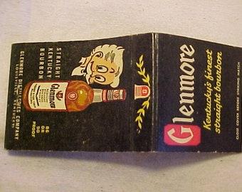 c1930-40s Glenmore Kentucky Straight Bourbon Whiskey Louisville, KY., Matchbook Cover, Distillery Distiller, Man Cave Decor,FREE SHIPPING