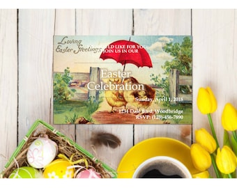 Vintage Chicks Easter Celebration Invitation Customizable - Printable Digital Download