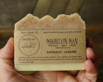 Mountain Man Soap | Mens Soap, Exfoliating Soap, Aromatherapy Cold Process Soap, Soap for Men, Natural Soap