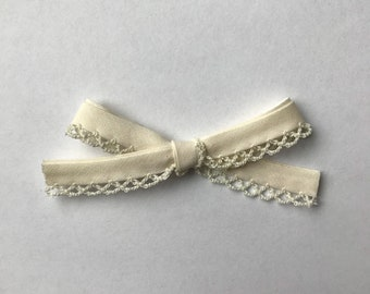 CLASSIC Cream Crochet Lace Hand-tied Bow