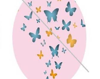 yellow, blue butterflies, 18x25cm