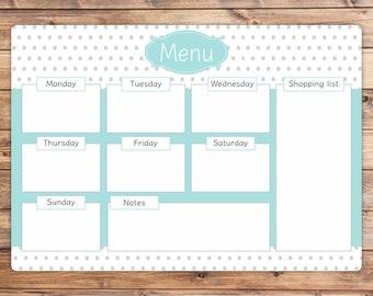Personalised Dry Wipe Whiteboard Weekly Menu Planner Board