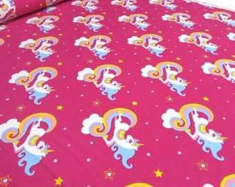 Fabric Cotton jersey unicorn clouds Clouds rider stars Pink kids fabric (15.40 EUR/meter)