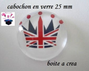 1 cabochon in. glass domed 25mm round breton flag