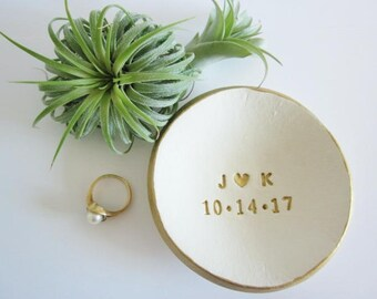 Custom ring dish, Monogrammed wedding ring dish, engagement gift, gold ring holder, bride gift, date and initial ring dish