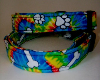 Tye Dye Dog Paw Collar