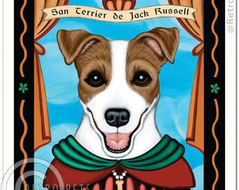 11x14 Jack Russell Art - Patron Saint of Perpetual Motion - Art print by Krista Brooks