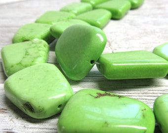 25 x 18mm Lime Green Turquoise Smooth Flat Trapiqoid Beads -  8 Pieces