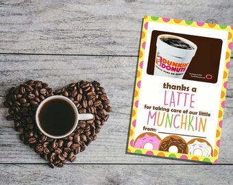 PRINTABLE Thanks A Latte Card - Coffee Lover - Teacher - Child Care - Thank You Card - Gift Card Holder