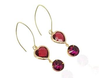Red crystal drop earrings, July ruby birthstone, Red gold bridal earrings, Long gold earrings, Ruby birthstone earrings, Swarovski Jewelry
