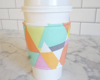 Reusable Coffee Sleeve-Geometric Print
