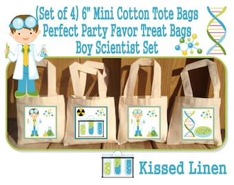 Science Party Scientist Birthday Party Treat Favor Gift Bags Mini Cotton Totes Children Kids Girls Boys -  Set of 4 or 8