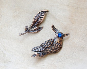Bird and Branch Brooch - Set of two Woodland Brooches