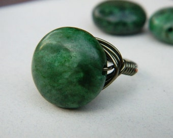 Dark Green Ring, Jewelry Rings, Cocktail Rings, Wire Wrapped Ring, Size 9, Marble Ring, Olive Ring, Forest, Bronze, Rustic Ring, Stone Ring